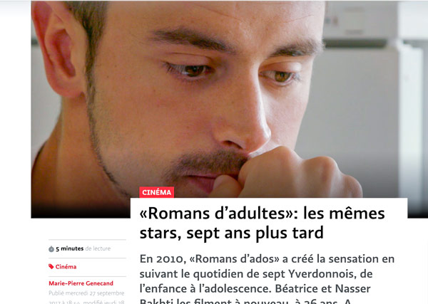 «Romans d'adultes» Journal le Temps 27.09.2017